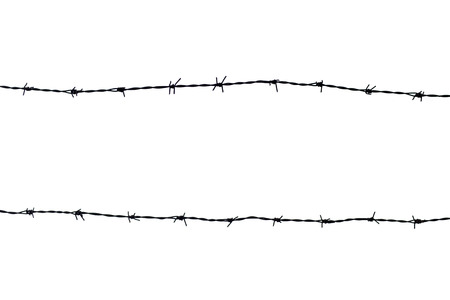 Silhouetted barbed wire on white background photo