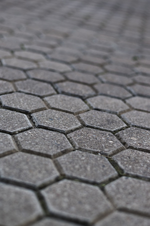 paved: Cobblestone pavement with selective focus and shallow depth of field. Urban street background.