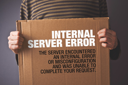 Http Error 500, Server error page concept. Man holding banner with error message. Web technology series. photo