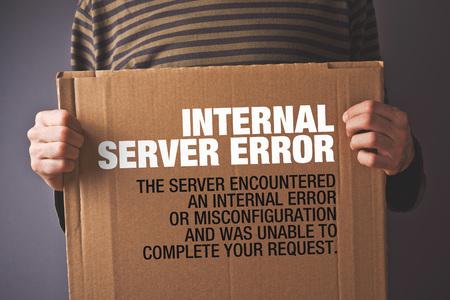 error: Http Error 500, Server error page concept. Man holding banner with error message. Web technology series.