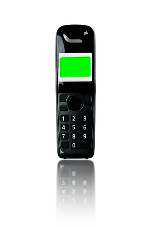 cordless phone: Wireless phone. Cordless phone with green screen display and reflection on white . Stock Photo