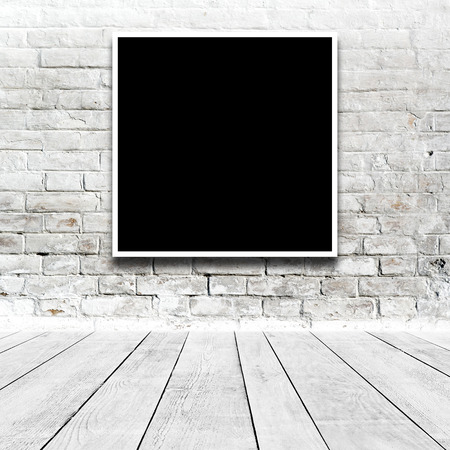 white wall: Square Painting hanging on the art gallery white wall. Stock Photo