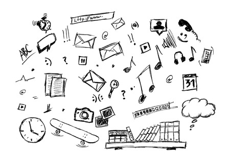 educations: Various doodle drawing of lifestyle icons. Music, e-mail, educations, sports, internet etc. Stock Photo