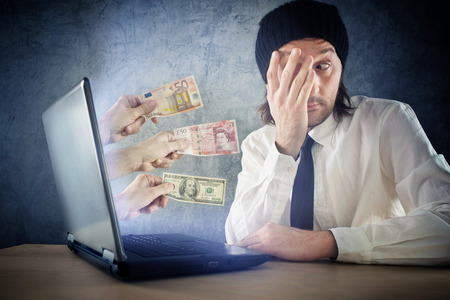Online money funds, surprised businessman receiving cash over internet. Earning money on network. Stock Photo - 28788321