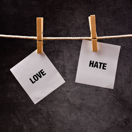 animosity: Love and hate words printed on note paper attached to clothesline.