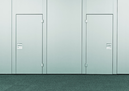 Closed conference room door. Modern business interior detail. photo