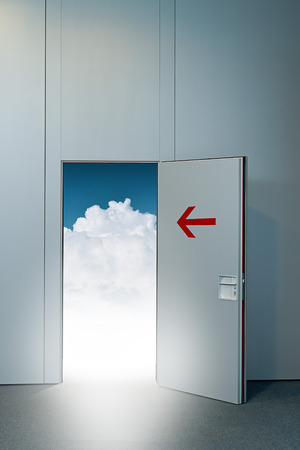 unreal unknown: Exit door to heaven, conceptual image. Leaving all problems behind, walking into a new life, retirement and withdrawal concept. Stock Photo