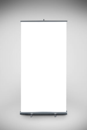 Blank Roll up banner as copy space template for your text or design portfolio. Point of sale marketing graphics element. photo