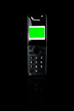 cordless phone: Wireless phone, Cordless phone with green screen display and reflection on black