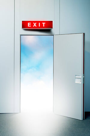 unreal unknown: Exit door to heaven, conceptual image  Leaving all problems behind, walking into a new life, retirement, withdrawal concept  Stock Photo