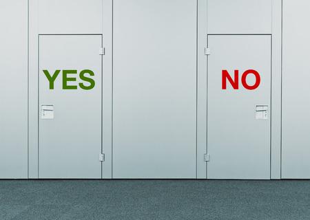 toma de decision: S� o No, el concepto de elecci�n de las puertas cerradas con marcas impresas como concepto de la toma de decisiones, opciones, estrategias y dilemas