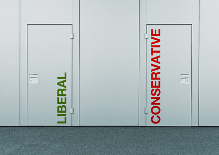 conservative: Liberal or conservative, concept of choice  Closed doors with printed marks as concept of decision making, options, strategy and dilemmas  Stock Photo