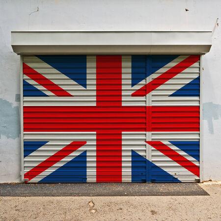 britain flag: Gran bandera de Gran Breta�a el coto cerrado Foto de archivo