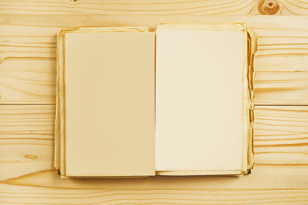 old notebook: Old open book with blank pages from above as copy space for your text or design.