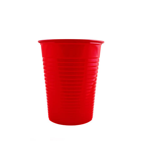 Plastic red cup isolated on white background photo