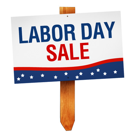 Labor Day Sale sign on wooden post isolated on white background photo