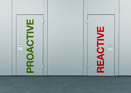 reactive: Proactive or reactive, concept of choice. Closed doors with printed marks as concept of decision making, options, strategy and dilemmas.