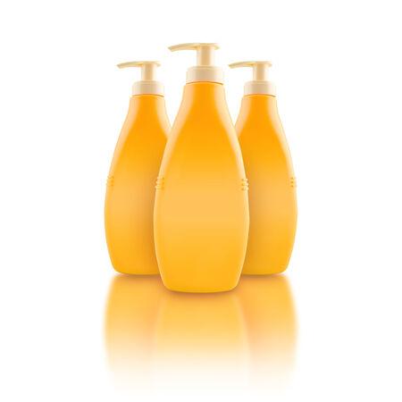 nourishing: Nourishing body milk bottles  Blank yellow plastic bottles with reflection  Stock Photo