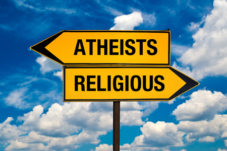 the sides: Atheists or Religious concept  Direction signs pointing to different sides