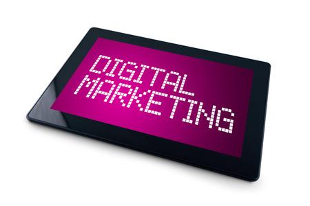 e marketing: Digital Marketing on Generic Tablet computer display overwhite background