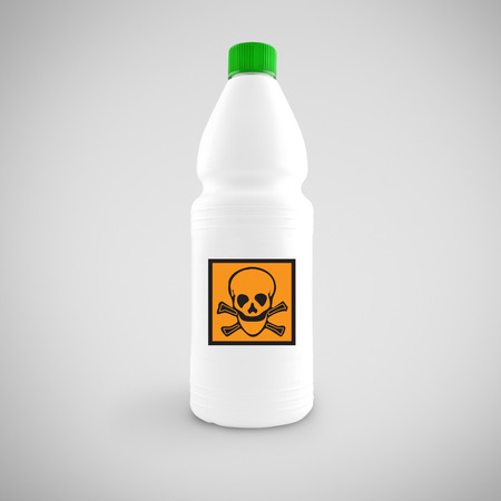 plastics: Bottle of chemical liquid with hazard symbol for toxic material