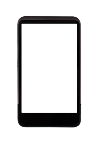 generic: Generic mobile smart phone with blank white screen isolated on white background Stock Photo