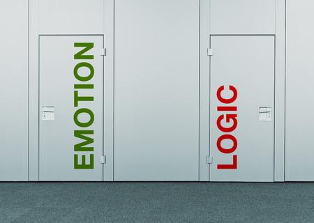 logica: Emoción o lógica, el concepto de elección puertas cerradas con marcas impresas como concepto de la toma de decisiones, opciones, estrategias y dilemas