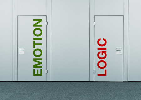 taking a risk: Emotion or logic, concept of choice  Closed doors with printed marks as concept of decision making, options, strategy and dilemmas  Stock Photo