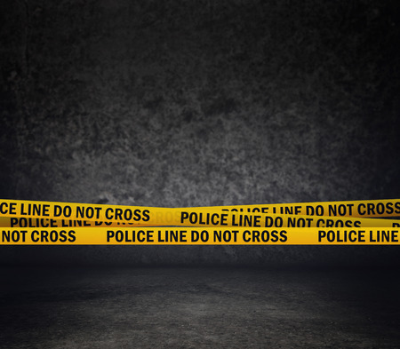 Police Line Do Not Cross Yellow Headband Tape  Murder Scene Police Ribbon  Archivio Fotografico