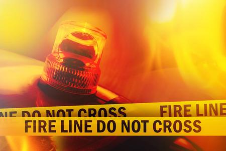 crime scene tape: Fire Line Do Not Cross Yellow Headband Tape and Orange flashing and revolving light