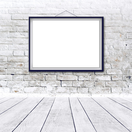 Blank horizontal painting poster in black frame hanging on white brick wall  Painting proportions match international paper size A  photo