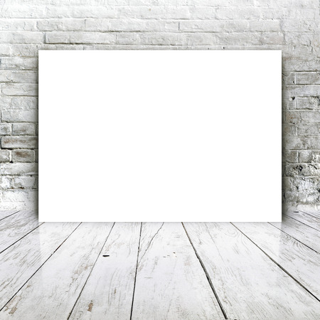 wall floor: Blank poster as copy space template for your artwork or design in Vintage empty Room interior with white brick brick wall and wooden floor.