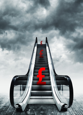 deflation: Pound symbol on escalators. Currency concept, inflation and deflation, finance and exchange rate.