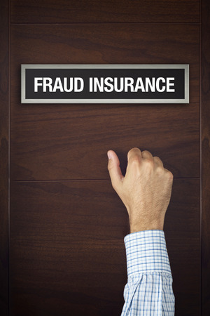 knocking: Businessman knocking on Fraud Insurance door looking for a service or advice.