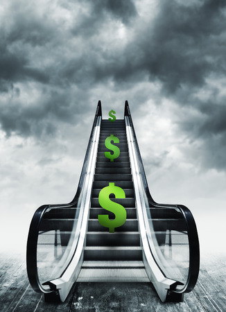deflation: Dollar symbol on escalators. Currency concept, inflation and deflation, finance and exchange rate. Stock Photo