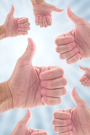 endorsement: Thumb up for like, endorsement or approval concept. Stock Photo