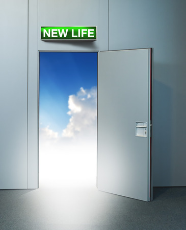 unreal unknown: New life door to heaven, conceptual image. Leaving all problems behind, walking into a new life, retirement or withdrawal concept.