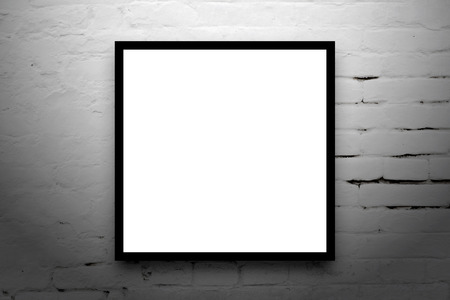Square format Poster hanging on the art gallery white wall. photo
