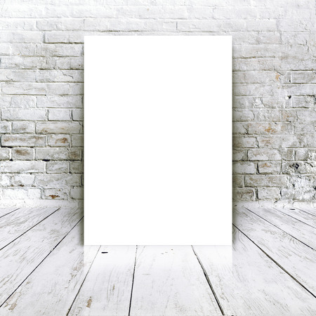 abandoned room: Blank poster as copy space template for your artwork or design in Vintage empty Room interior with white brick brick wall and wooden floor.