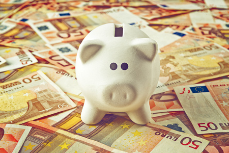 50 euro: Piggy Coin Bank standing on fifty Euro banknotes pile as home budget theme illustrative image.