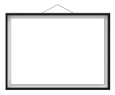 Blank Vertical Painting Poster In Black Frame Hanging On White ...