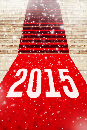 holiday blockbuster: Red carpet with number 2015 on staircase marking the route taken by vips and celebrities on ceremonial events. Happy New Year.