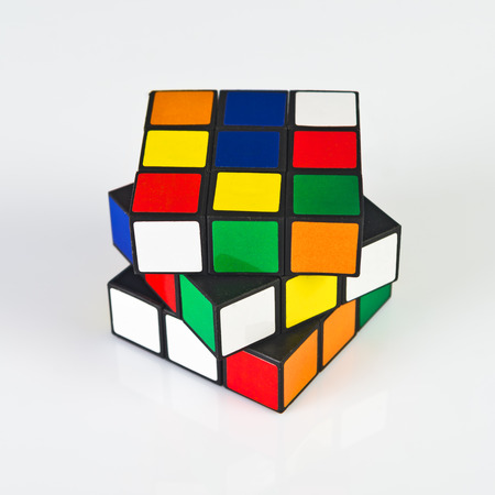 NOVI SAD, SERBIA - NOVEMBER 17, 2014: Rubik's Cube invented by a Hungarian architect Erno Rubik in 1974 is famous is 3 dimensional puzzle originally called Magic Cube. Editoriali