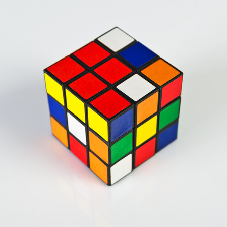 NOVI SAD, SERBIA - NOVEMBER 17, 2014: Rubik's Cube invented by a Hungarian architect Erno Rubik in 1974 is famous is 3 dimensional puzzle originally called Magic Cube. Redakční