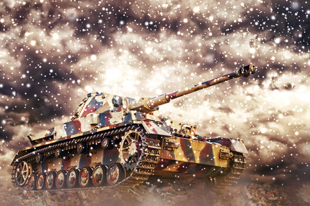 world war: German Tank in action with dark storm clouds and snow falling in background. Concept of war and conflict.