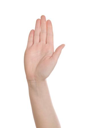cease: Facendo caucasico bianco mano femminile Stop risuscitato e isolato su sfondo bianco. Archivio Fotografico