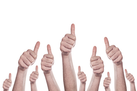 Group of caucasian white people making hand Thumbs up sign isolated on white background. Like, approval or endorsment concept. Stock Photo - 34626017