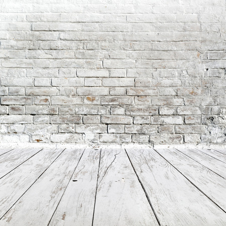 white wood floor: Vintage White Room interior with brick wall and wooden floor as background for product placement