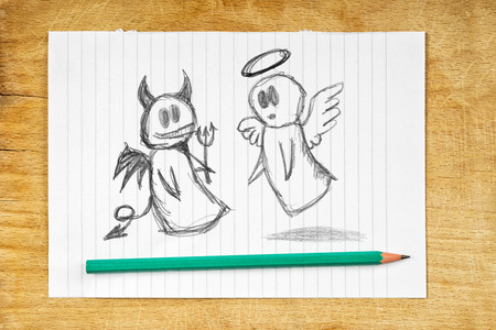 angel white: Doodle drawing of angel and devil on white paper as concept of conscience and moral dilemma in fight of good and evil.