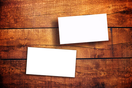 business cards: Blank Horizontal Business Cards as copy space for your design on Wooden Table Stock Photo